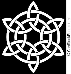 Beautiful 6 point Celtic knot on black background