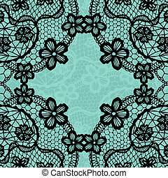 Vintage lace invitation card. - Vector black lace on...