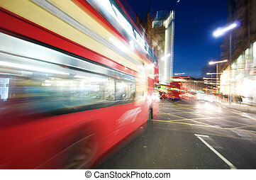 London nightlife - Abstract picture of Busy High street with...