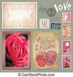 Set of vintage postcards with a beautiful hand drawing roses and post stamps for Valentines Day design.