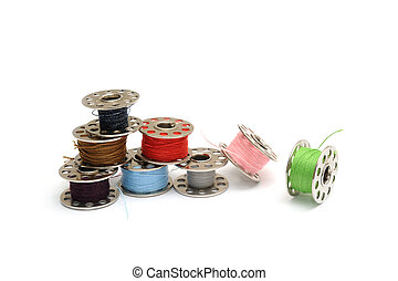 Different colored Sewing machine bobbins