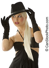blond with hat