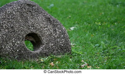 Millstone grindstone rock on the ground with grass - Rock on...