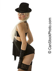 black hat on - sexy girl with black stocking blond hair and...