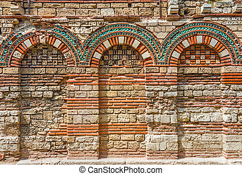 Ancient wall with arch found on Nessebar, Bulgaria