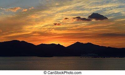 the Sunset of Namhae Seaside in Korea