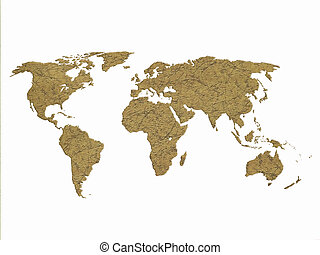 dry world map isolated on white