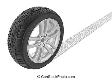 Car winter wheel. Track on ground. Isolated on white...
