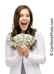Happy woman holding money - Half-length portrait of happy...