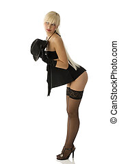 pinup in black - sexy blond girl with hat and gloves...