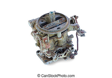 old carburetor - old dirty carburetor from the car isolated...