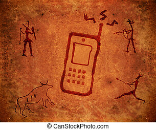 prehistoric paint background with mobile phone