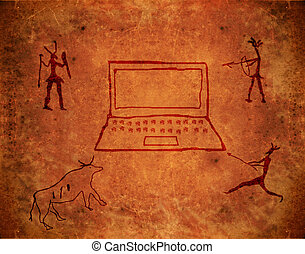 prehistoric paint on brown grunge background with notebook...