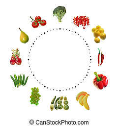 fruit and vegetables clock on white background