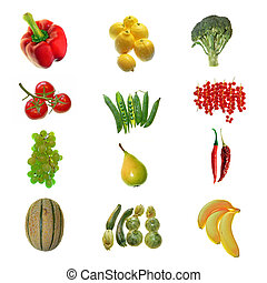 fruit and vegetables collage on white background