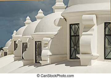 White cupolas on a cathedral