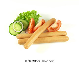 Frankfurters on isolated background - Close-up of...