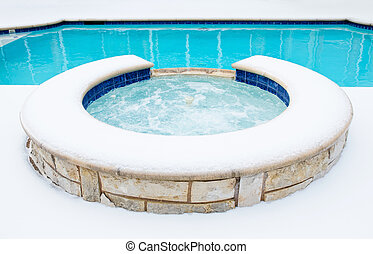 Hot tub spa in the winter - Outdoor residential hot tub or...