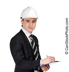 Male builder in helmet with papers