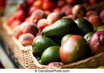 Close up of exotic fruits in the market