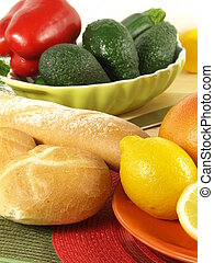 Low-fat continental breakfast - Roll and baguette with...