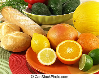 Mediterrenean breakfast with baguette and fruits - Closeup...