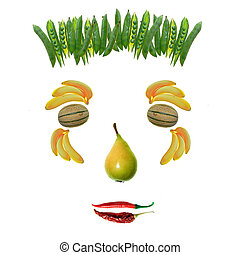 healt\'s face - fruit and vegetables face on white...