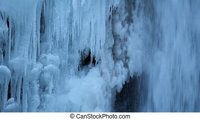 Multnomah Falls Frozen in Winter along Columbia River Gorge...