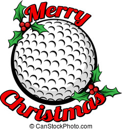 Golf Merry Christmas - Golf ball surrounded by the words...