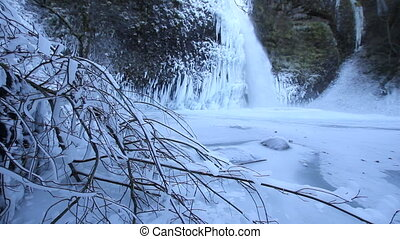 Horsetail Falls Frozen in Winter