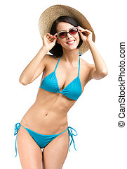Lady wearing bikini, hat and sunglasses - Portrait of female...