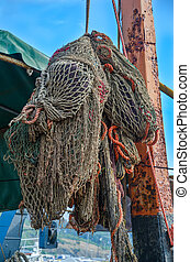 Fishing nets of the ship - Old fishing nets of the fishing...