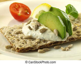 Avocado low-fat sandwich - Diet slice of bread with avocado...