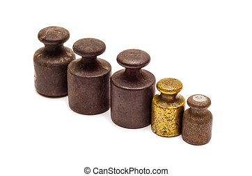 Five calibration weights in row - Set of five antique...