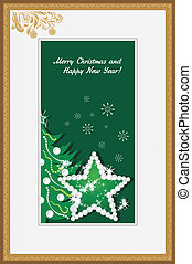 Golden frame with shining star and Christmas tree. Vector...