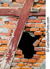 Hole in a red brick wall - Black hole in a red brick wall
