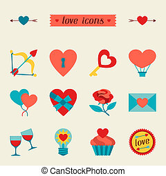 Set of Valentine's and Wedding icons, design elements.