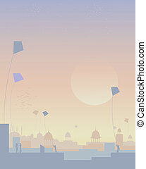 india kite festival - an illustration of a kite festival in...