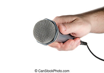 Male hand holding microphone - Male hand holding microphone...