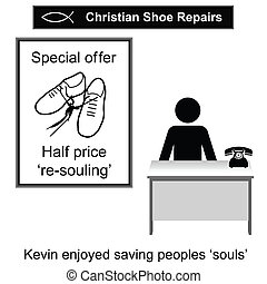 Shoe Repairs - Kevin the Christian cobbler cartoon isolated...