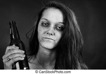 Black and white of young woman addict - Dramatic black and...