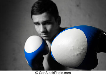 young boxer fighter portrait