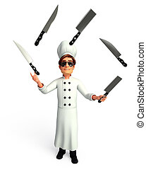 Chef is playing with knife - 3d rendered illustration of...