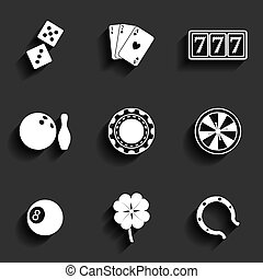 Casino and Gambling Flat Icons for Web and Mobile...