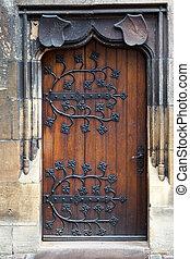 viejo, de madera, puerta, decorativo, falsificado, metal,...