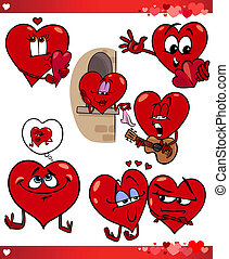 valentine cartoon illustration love set - Cartoon...