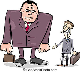 businessmen big and thin cartoon