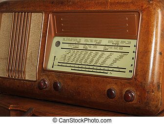 table of radio stations of the last century in an old...