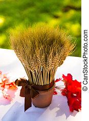 trigo, decoración, cosecha, boda