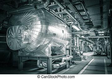 tubos, moderno, termal, potencia, estación